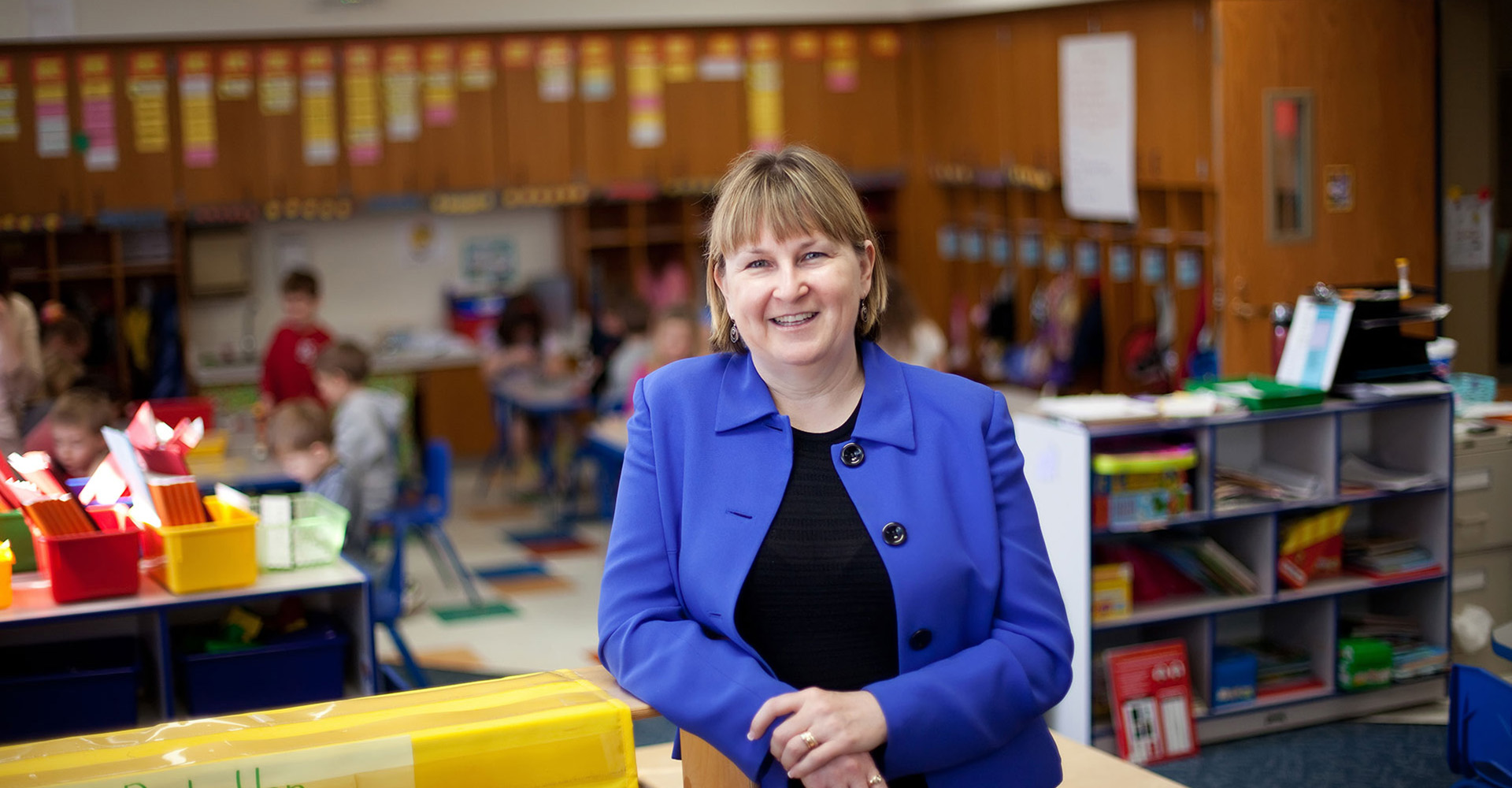 Female superintendent in a classroom