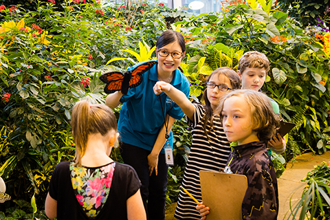 teacher with students at butterfly garden