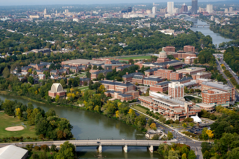 arial shot of River Campus