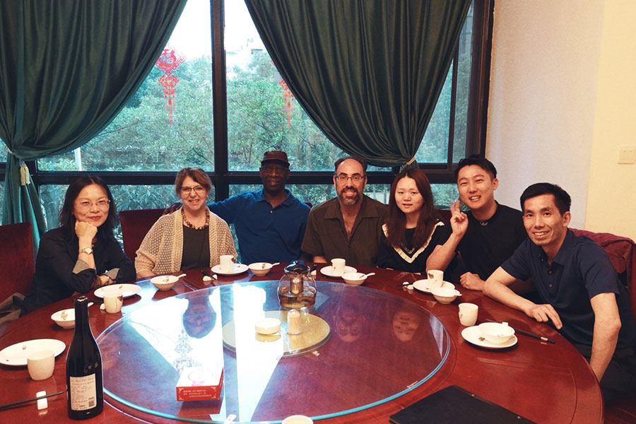 Nancy Ares with Wuhan faculty and students
