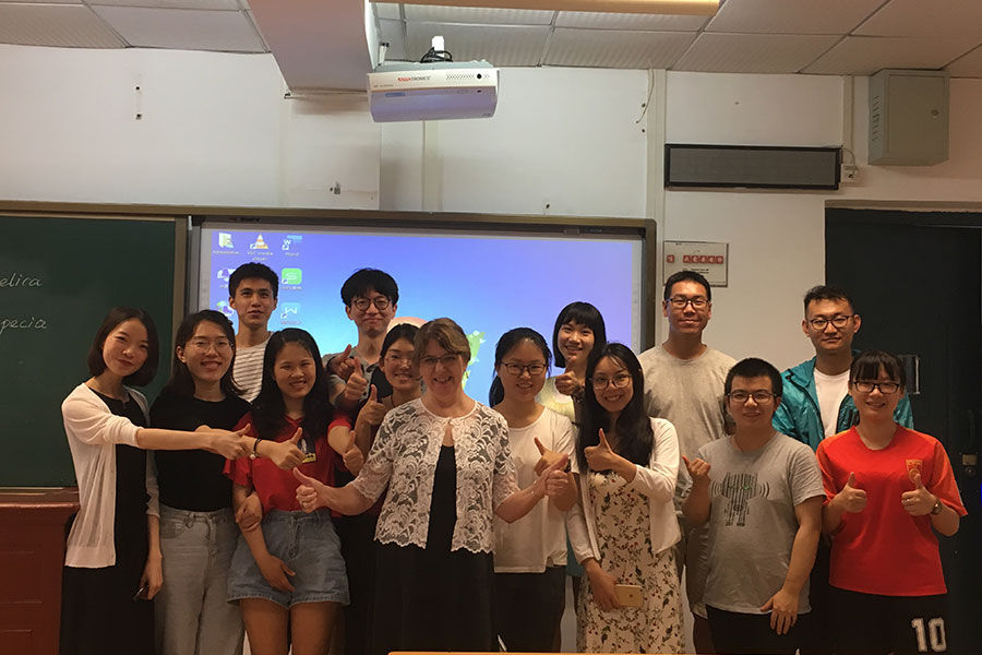 Nancy Ares with students at Wuhan University