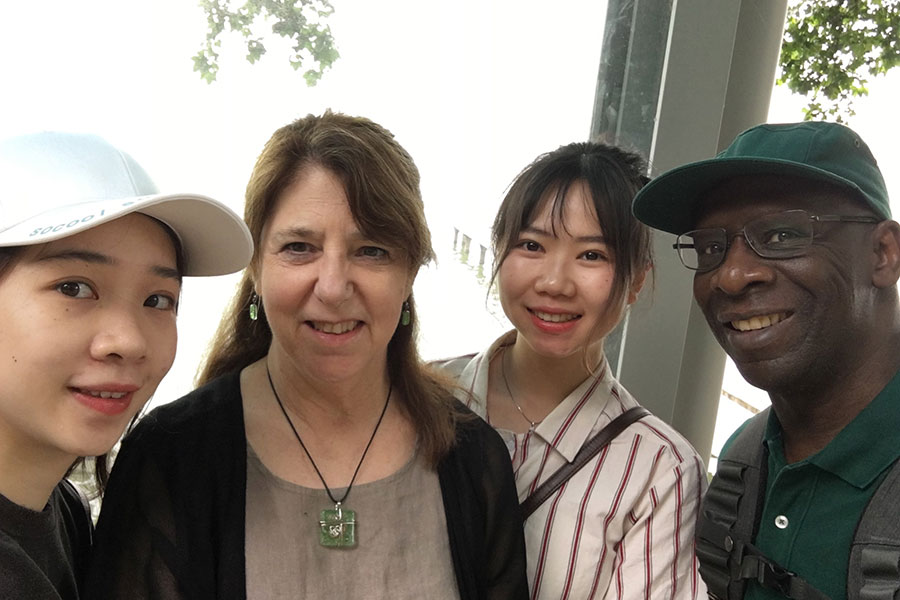 Nancy Ares with Wuhan students