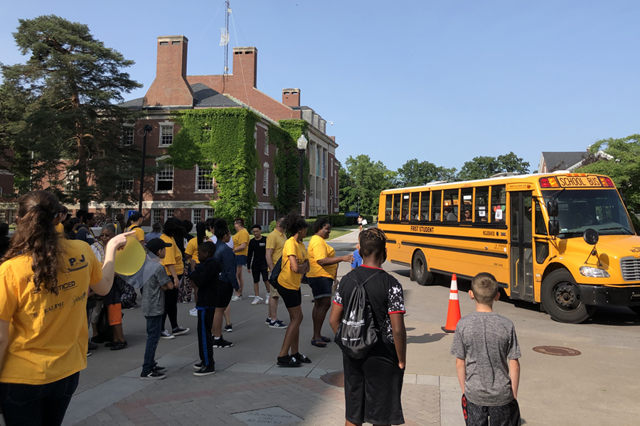 Students rolling up to LeChase Hall on first day of Horizons.