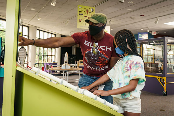 Students at the Rochester Science Museum Center
