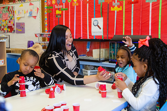 Shalonda Garfield working with students