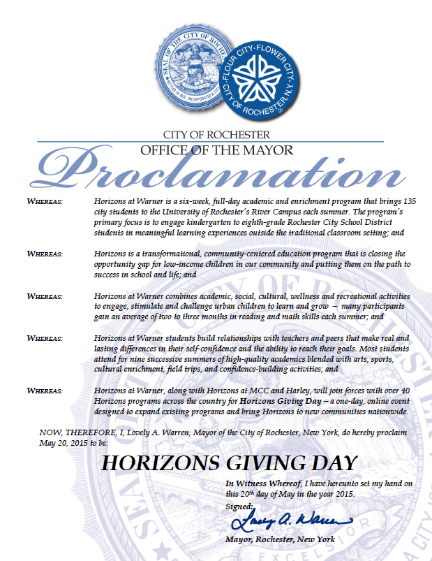 Mayor Lovely A. Warren proclaims May 20, 2015 to be Horizons Giving Day.