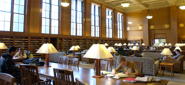 students studying in rush rhees library