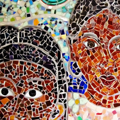 section of a mosaic art piece with student faces